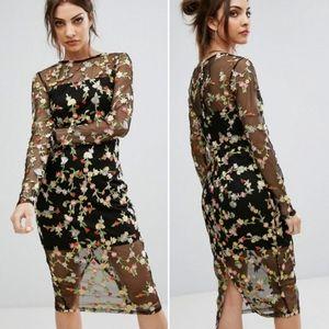 Pretty Little Thing Ireenah Floral Mesh Dress NWT